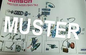 Explosionsdarstellung Simson Motor S51 S70 M531/541/741 70x48cm