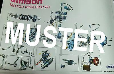 Explosionsdarstellung Simson Motor S51 S70 M531//541//741 70x48cm