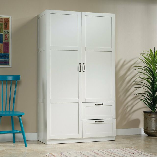 White Finish Armoire Wooden Wardrobe Storage Cabinet Closet Drawer Organizer