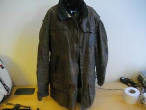 Barbour-Bushman-Brown-Wax-Jacket-Leather-Trim-Size-Small