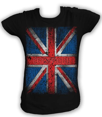 Damen T-Shirt UNION JACK DISTRESSED UK England British Flag Vintage BE 13315