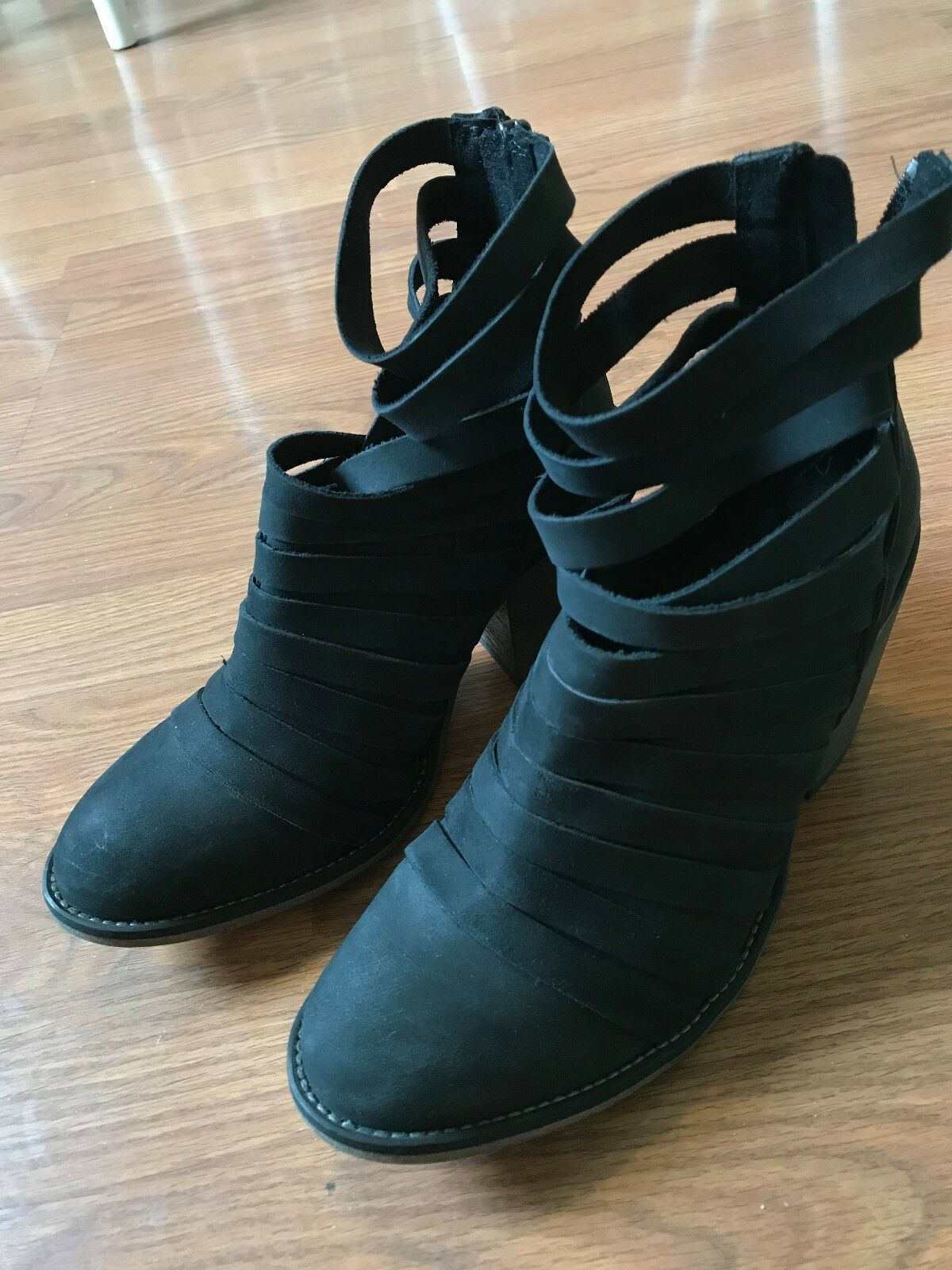 WOMEN'S FREE PEOPLE HYBRID STRAPPY ANKLE BOOTS BOOTIES HEEL BLACK SIZE 37 - US 7