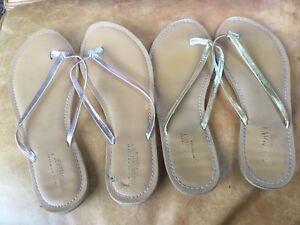 21398fb0294 OLD NAVY Flip Flops Sandals Metallic Yellow Gold or Silver 8M Flat ...