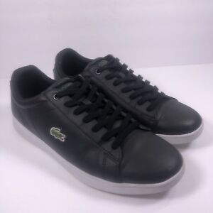 bc50377ce9a Lacoste Men s Carnaby Evo LCR SPM BLACK LEATHER SNEAKERS Sz 11