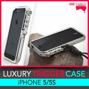 check out 096fe 2a476 Details about NEW Trigger Style Aluminium Metal Hard Bumper Case Cover  Silver Gray iPhone 5 5S