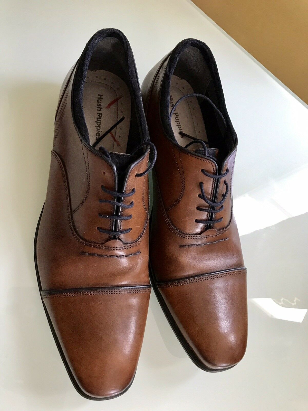 Hush Puppies Brown Leather Loafer Dress shoes Men's Sz 13 Lace Up