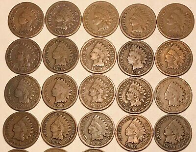 VG  FREE SHIPPING G 20 COINS Short Set 1880-1899 Indian Head Cent Penny