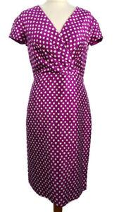 Fenn-Wright-Manson-Size-10-Purple-Spotty-Silk-Blend-Fitted-Dress-Party