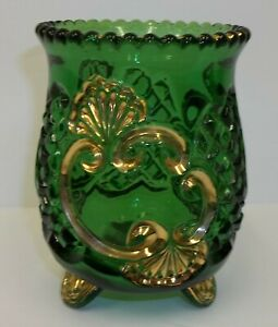 Vintage-Croesus-Emerald-Green-amp-Gold-Footed-Spoon-Celery-Holder-Dish