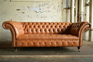 HANDMADE-CHESTERFIELD-SOFA-COUCH-CHAIR-3-SEAT-VINTAGE-ANTIQUE-TAN-LEATHER