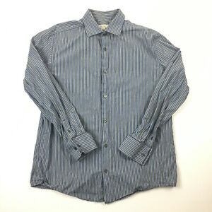 Merona-Blue-Gray-Striped-Button-Down-Shirt-Long-Sleeve-100-Cotton-Size-Large