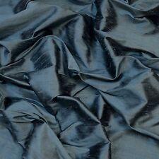 "Iridescent Cadet Blue Dupioni 100% Silk Fabric, 54"" Wide, By The Yard (S-239)"