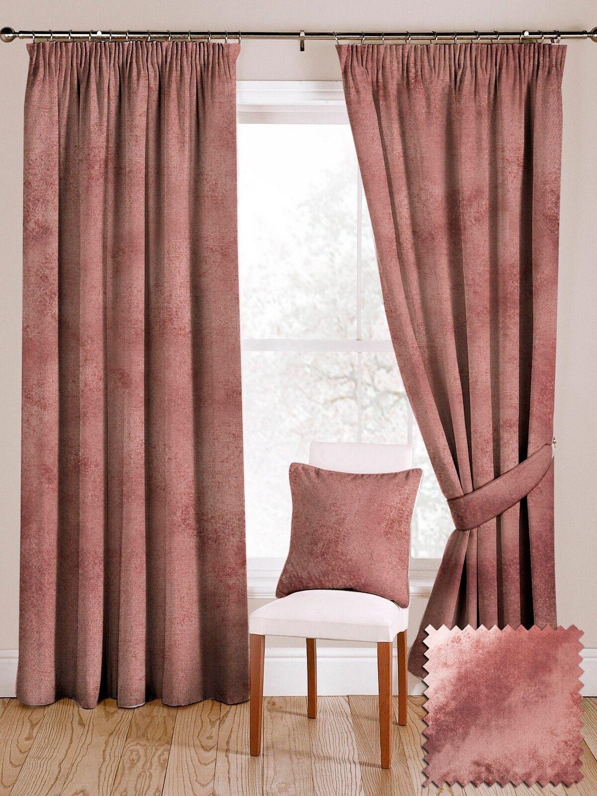 McAlister Textiles De Luxe Brillant Velours Toucher Doux Rose Rideau Paire