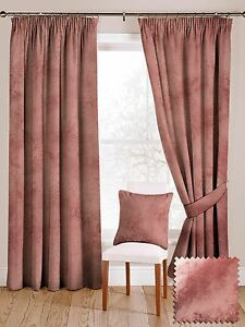 McAlister Textiles Shiny Metallic Crushed Velvet Look Tailored Rose Pink Curtain