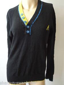 ☆ KANGOL BLACK LABEL Mens Black V Neck Cotton Jumper Sweater Top ... 39e45986d59