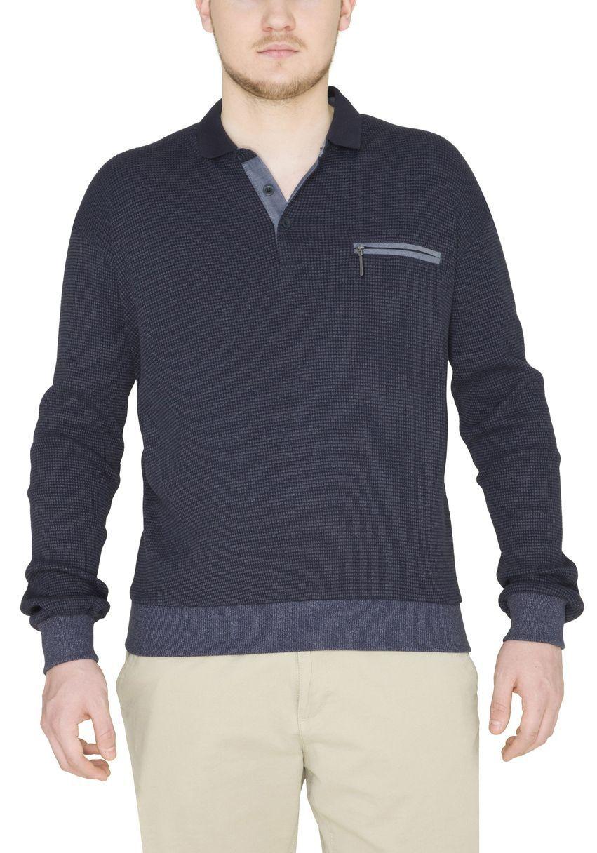 Hajo Sweatshirt Langarm 26212 609 marine meliert