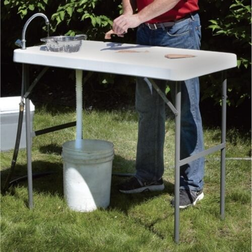 Fish Cleaning Table Folding Portable Faucet Camp Game Hunt Filet Sink Camping