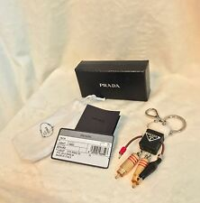 PRADA ROBOT EDWARD TRICK Silver Gold Tone Metal Keychain Bag Charm