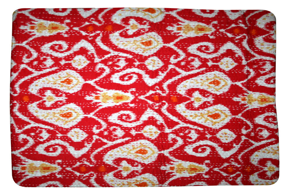 Indian Kantha Ikat Paisley Floral Quilted Bed Cover Kantha Bedspread Quilt Art