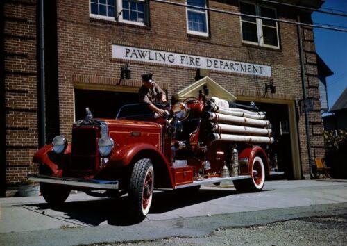 Art print POSTER Canvas Firefighter Polishing Truck Outside Station
