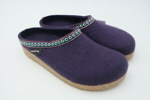 00d9010f302 Image is loading Haflinger-Classic-Wool-Grizzly-Clog-Leather-Trim-Unisex-