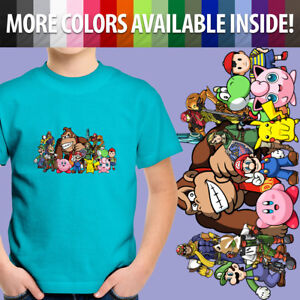 Super-Smash-Bros-Yoshi-Mario-Pikachu-Kirby-Unisex-Kid-Boy-Gril-Tee-Youth-T-Shirt