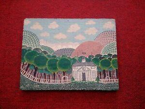 Tableau-art-naif-sur-panneau-de-bois-paysage-avec-villa-et-foret