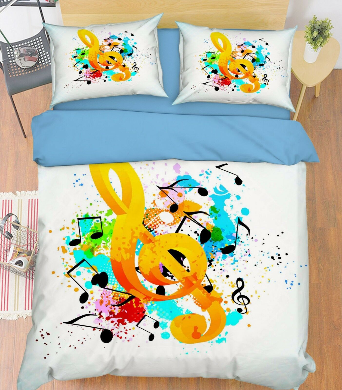 3d Music Notes 115 bett Cushion abdeckungs Stitch Duvet abdeckung Set Single Queen DE
