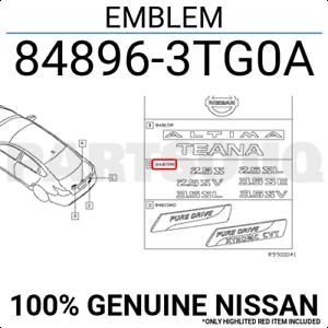 84896-3TG0A Genuine Nissan Trunk Lid Emblem
