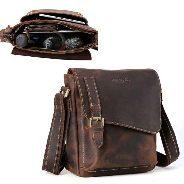 Vintage Leather Men Shoulder Messenger Sling IPAD Bag Crossbody Business Satchel