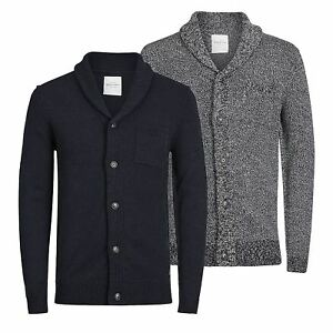 Mens-Cardigan-Jumper-JACK-amp-JONES-Instinct-Shawl-Neck-Button-Up-Sweater