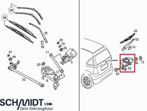 Mercedes-Scheibenwischer-Heckwischermotor-Wischer-Motor-hinten-A-Klasse-W168