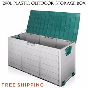 Plastic Outdoor Storage Box Container 290l Wheels Weatherproof