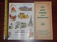 DAY TOURS FROM EDINBURGH SCOTTISH OMNIBUSES LTD 1952 BROCHURE LOT BUS CREASED