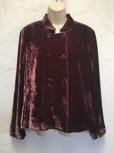J-Jill-Purple-Crushed-Velvet-Silk-Rayon-Double-Breasted-Jacket-Size-L-Large