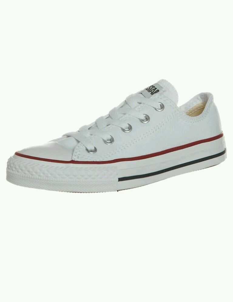 BNWB Coffret Unisexe Ox Converse All Star Basse Baskets Blanc Toile Baskets Basse UK 7 U.S 9 0b28d2