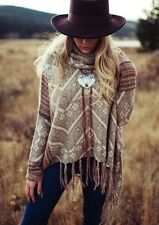 Free People Montana Bolo Leather Etched Natural Stone Statement Fringe Necklace