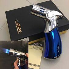 Windproof  Four Torch Jet Flame Refillable Cigarette Cigar Lighter w/ Box Blue