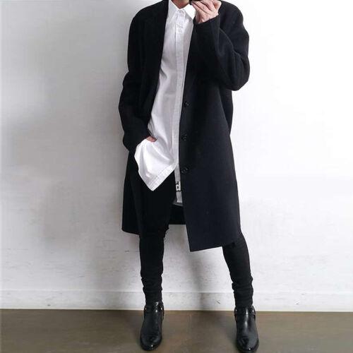 Korean Fashion Men Wool  Cashmere Trench Coat Loose Long Outwear Jacket Overcoat