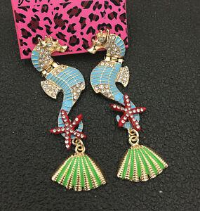 Women-039-s-Blue-Enamel-Crystal-Seahorse-Starfish-Shell-Betsey-Johnson-Stud-Earrings