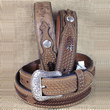 38 INCH WESTERN NOCONA CONCHOS LEATHER MENS BELT OSTRICH TAN OVERLAY