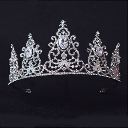 2 Colors 6cm High Full Crytal Wedding Bridal Party Pageant Prom Tiara Crown
