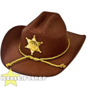 ADULTS SHERIFF HAT WILD WEST AMERICAN COP FANCY DRESS US DEPUTY ... 9f5c1c806014