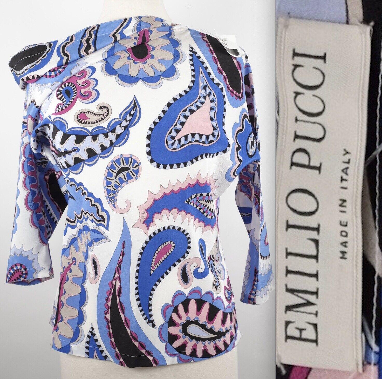 New sz 40   US 6 Emilio Pucci Weiß pasiley silk blouse top dress