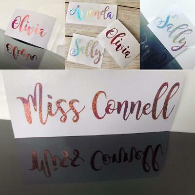 glass holo decal Personalised vinyl name sticker wedding bottle glitter