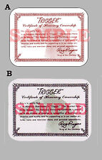 "Western Roy Rogers ""Trigger"" Certificate of Honorary Ownership Card 2.5 "" X 3.5"""