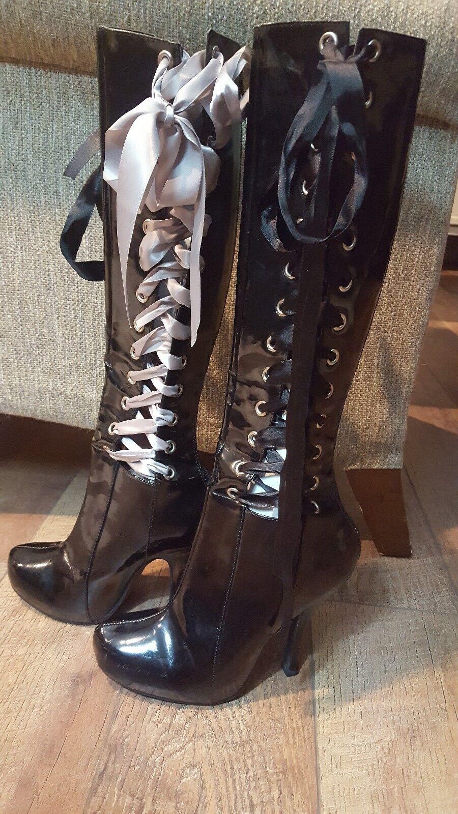Penthouse castidad Charol Negro Negro Negro botas con cordones Sexy Con Cremallera Talla 8  Seleccione de las marcas más nuevas como