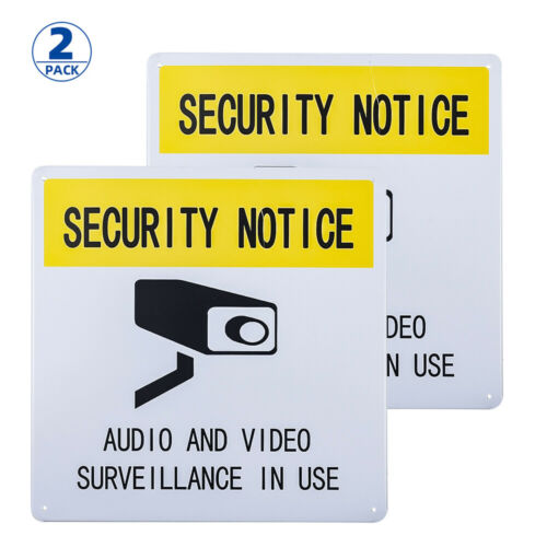 "Audio and Video Surveillance in Use/"" Sign10*10 DL-2 Pack /""Security Notice"