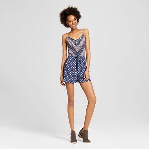 340693fe9d7 NEW TARGET Women s Smocked Romper Xhilaration shadow blue boho XS ...