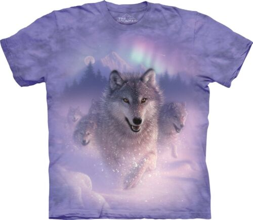 The Mountain Unisex Adult Northern Lights Wolves T Shirt